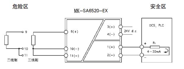 三线制热电阻信号输入时,要尽可能保证三根导线电阻值相等;      2.